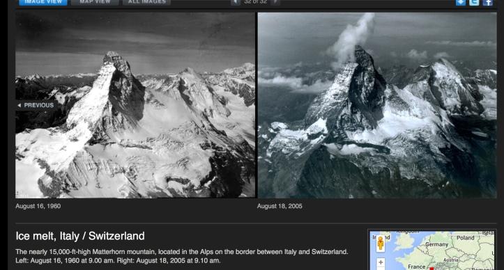 Matterhorn ice melt 1960-2005