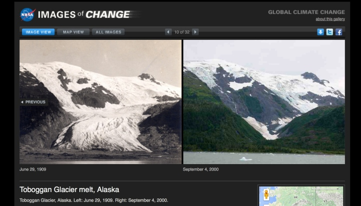 Toboggan glacier melt 1909-2000