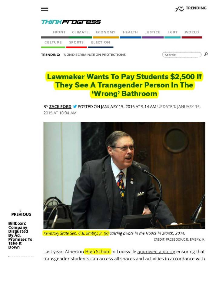 Lawmaker Wants To Pay Students $2,500 If They See A Transgender Person In The 'Wrong' Bathroom | ThinkProgress_Page_1