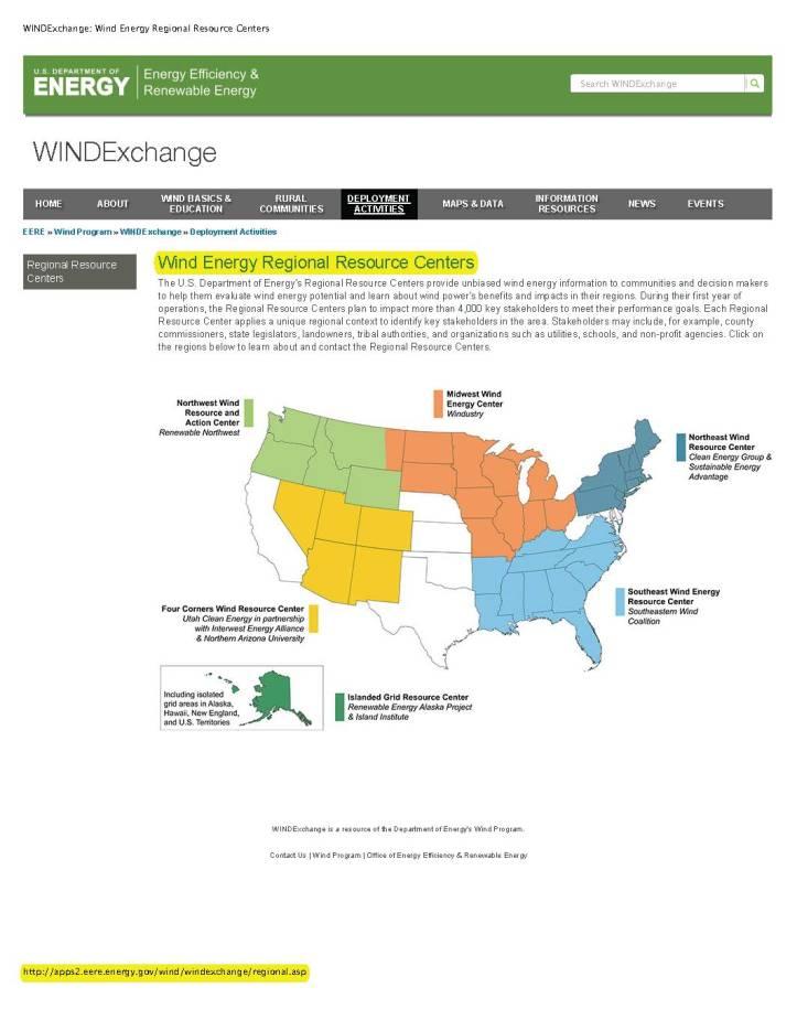 WINDGraph 7 Wind Energy Regional Resource Centers