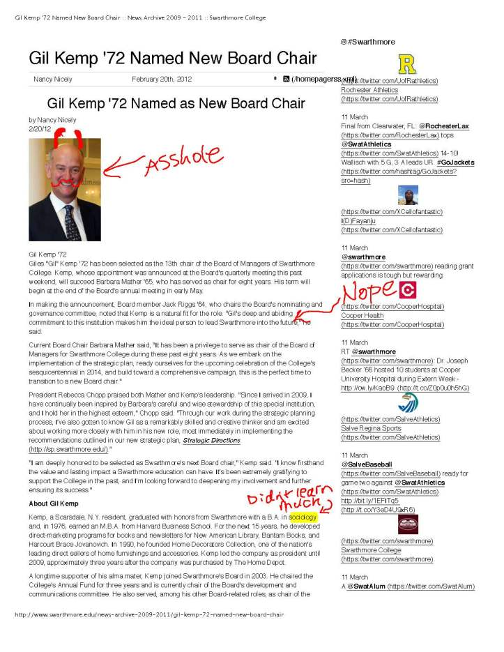 Gil Kemp '72 Named New Board Chair -- News Archive 2009 - 2011 -- Swarthmore College_Page_1