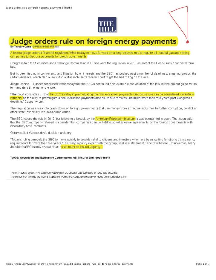 Judge orders rule on foreign energy payments | TheHill