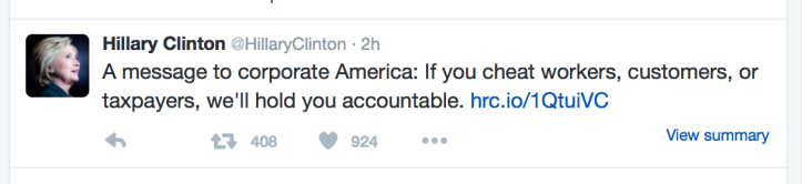 Hillary Clinton tweet