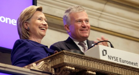 U.S. Secretary of State Hillary Rodham Clinton, rings the New York Stock opening bell, accompanied by NYSE CEO Duncan L. Niederauer, Monday Sept. 21, 2009. (AP Photo/Richard Drew)