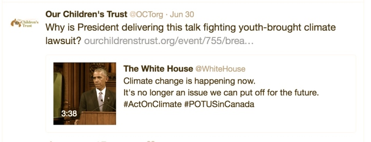Tweet by Our Children's Trust, calling out President Obama for his duplicity.