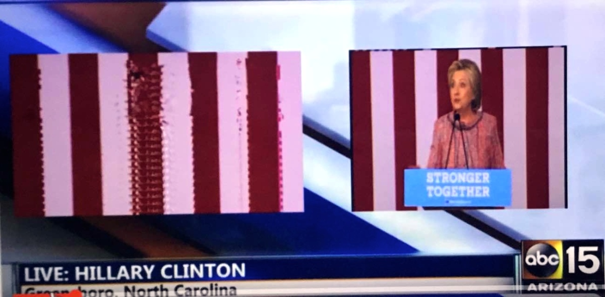 Is Hillary Clinton using a green screen to fake her public appearances?