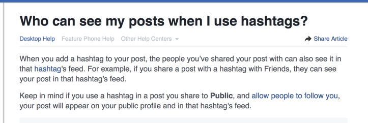 FB hashtags